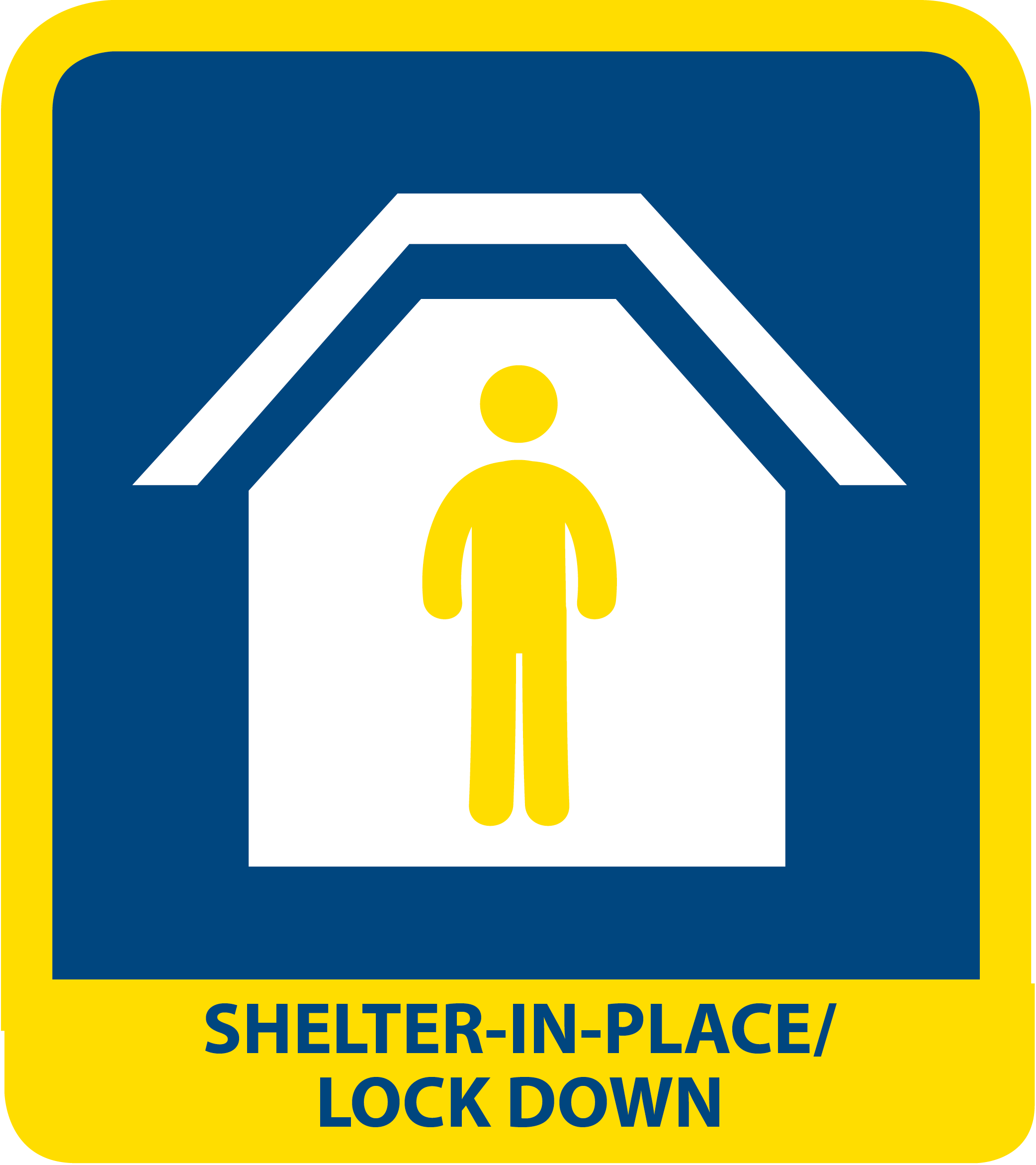 icon reads SHELTER IN PLACE AND LOCKDOWN